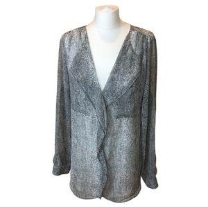 Calvin Klein V Neck blouse Gray Snake Print Sz L